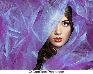 красивая, мода, пурпурный, фото, под, вуаль, женщины