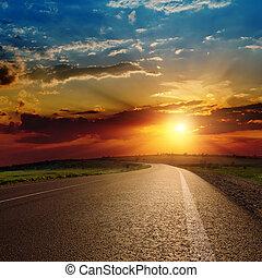 красивая, над, закат солнца, асфальт, дорога