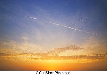 красивая, небо, закат солнца, время