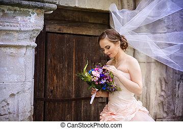 красивая, невеста, вуаль