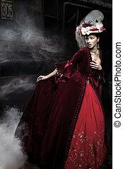 красивая, носить, женщина, над, поезд, платье, красный