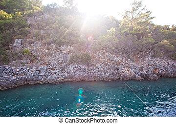 красивая, остров, закат солнца, rocks