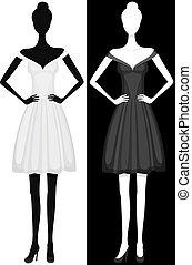 красивая, платье, девушка, вектор, силуэт
