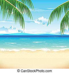красивая, пляж