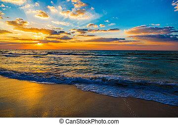 красивая, пляж, дубай, закат солнца, море, пляж