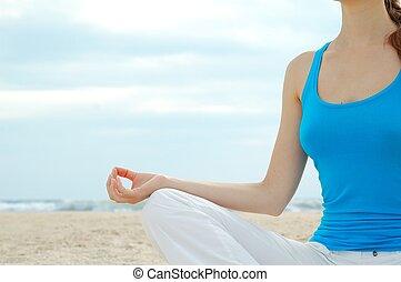 красивая, пляж, практика, женщина, йога