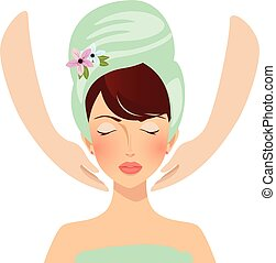 красивая, полотенце, relaxing, лицо, спа, девушка, having, массаж