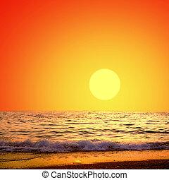 красивая, природа, небо, восход, море, пейзаж