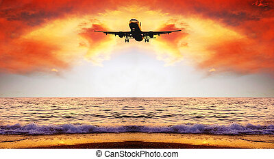 красивая, природа, небо, пейзаж, море, самолет, восход