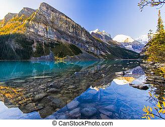 красивая, рано, утро, озеро, луиза