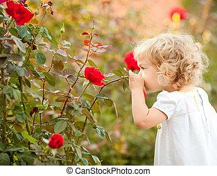 красивая, роза, ребенок, smelling