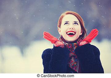 красивая, рыжеволосый, park., зима, женщины