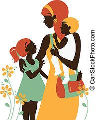 красивая, силуэт, mother's, ее, day., мама, children., карта, счастливый