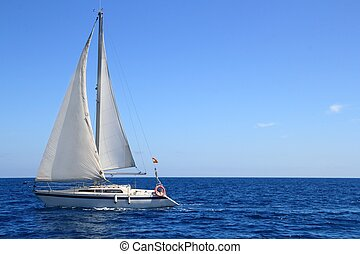 красивая, синий, парусный спорт, парусная лодка, паруса, средиземное море