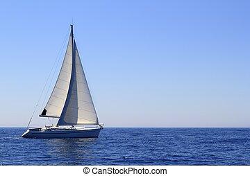 красивая, синий, парусный спорт, парусная лодка, средиземное море, sails