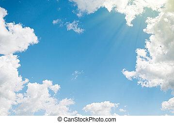 красивая, синий, clouds, background., небо