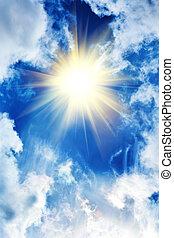 красивая, солнце, clouds, небо