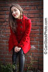 красивая, стена, пальто, задний план, девушка, кирпич, красный