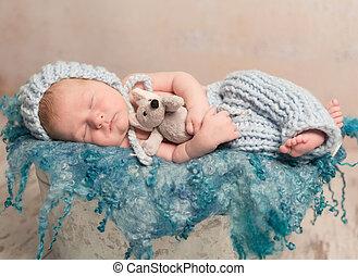 красивая, шерстяной, одеяло, спать, новорожденный, детка