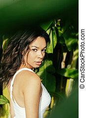 красивая, экзотический, женщина, молодой, тропический, джунгли, место нахождения