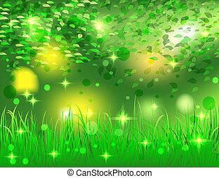 красивая, яркий, абстрактные, лес