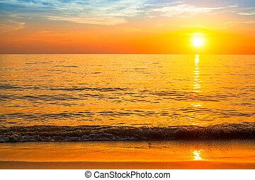 красивая, beach., закат солнца, море