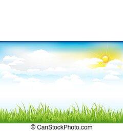 красивая, clouds, зеленый, пейзаж