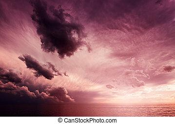 красивая, cloudscape, над, закат солнца, море