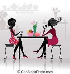 красивая, girls, cafes, силуэт