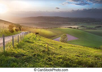 красивая, hills, сельская местность, над, английский, прокатка, пейзаж
