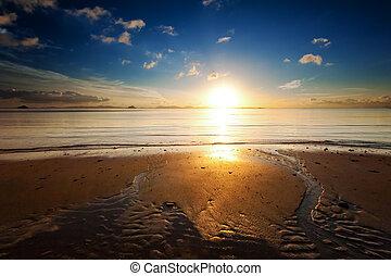 красивая, landscape., отражение, природа, солнце, небо, океан, воды, восход, задний план, легкий, пляж, море