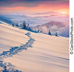 красивая, mountains., зима, восход