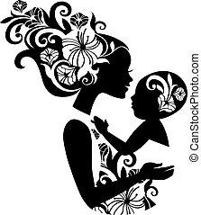 красивая, sling., силуэт, иллюстрация, детка, мама, цветочный