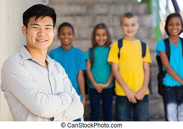 красивый, воспитатель, школа, элементарный