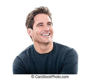красивый, смеющийся, человек, портрет, зрелый