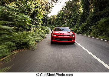 красный, движение, спорт, скорость, автомобиль