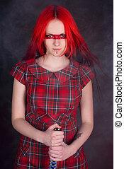 красный, девушка, волосы, меч