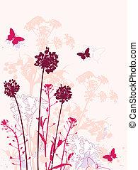 красный, задний план, цветочный