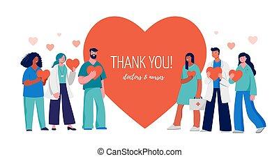 красный, медицинская, professionals, вы, задний план, концепция, группа, спасибо, сердце, -, дизайн, doctors, nurses