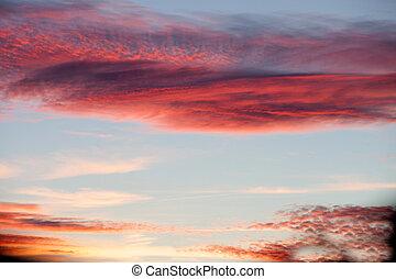 красный, небо, идиллический
