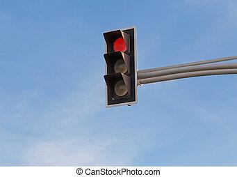красный, сигнал, трафик, легкий