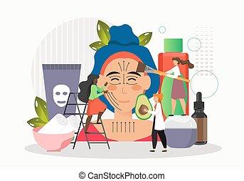 красота, лицо, массаж, процедура, квартира, спа, женщина, вектор, получение, illustration., treatment., лицевой