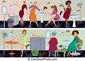 красота, салон, баннер, workers