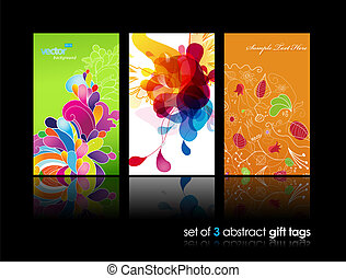 красочный, абстрактные, всплеск, задавать, подарок, cards, reflection., цветок