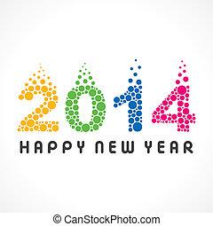 красочный, год, новый, 2014, пузырь, счастливый