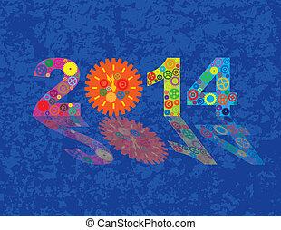 красочный, год, gears, задний план, новый, 2014, счастливый