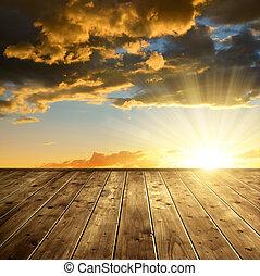 красочный, закат солнца, красивая