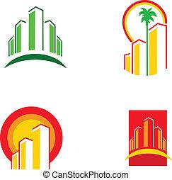 красочный, здание, иллюстрация, вектор, -1, icons