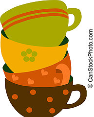 красочный, иллюстрация, cups, вектор, 4