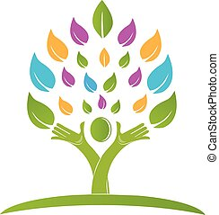 красочный, люди, дерево, вектор, руки, логотип